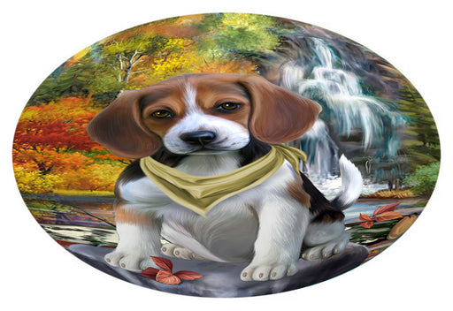 Scenic Waterfall Beagle Dog Oval Envelope Seals OVE63276