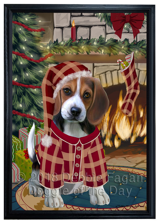 The Stocking was Hung Beagle Dog Framed Canvas Print Wall Art FCVS175347