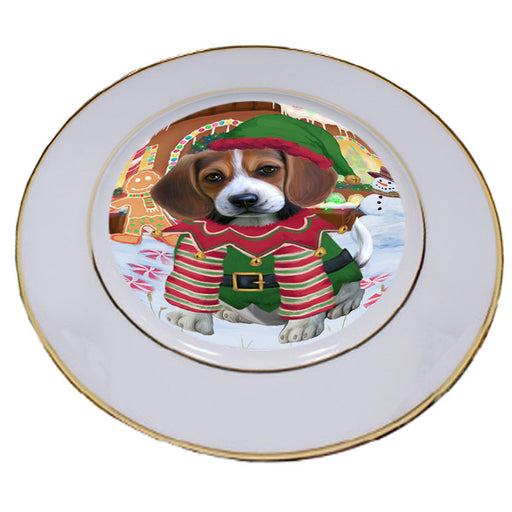 Christmas Gingerbread House Candyfest Beagle Dog Porcelain Plate PLT54517