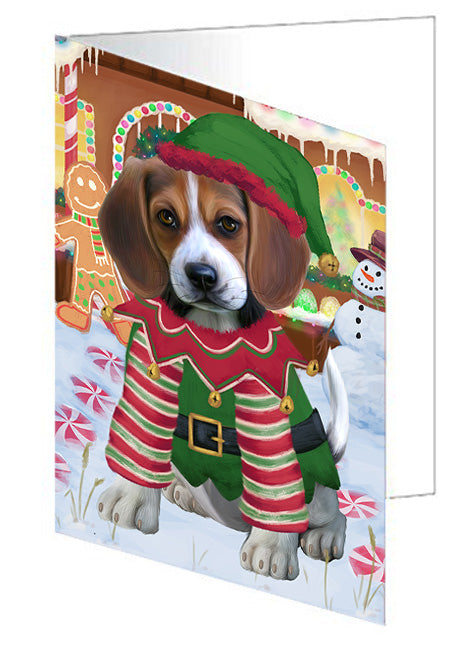 Christmas Gingerbread House Candyfest Beagle Dog Note Card NCD73019