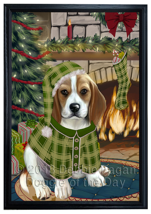 The Stocking was Hung Beagle Dog Framed Canvas Print Wall Art FCVS175364