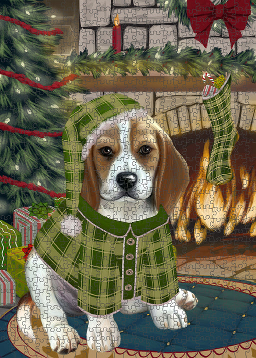 The Stocking was Hung Beagle Dog Puzzle with Photo Tin PUZL88984