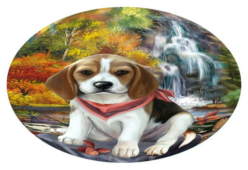 Scenic Waterfall Beagle Dog Oval Envelope Seals OVE63280