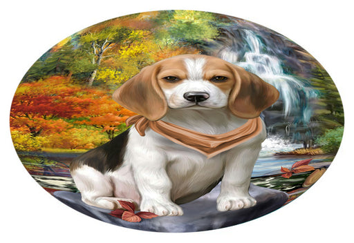 Scenic Waterfall Beagle Dog Oval Envelope Seals OVE63284