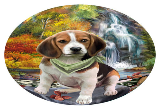 Scenic Waterfall Beagle Dog Oval Envelope Seals OVE63288