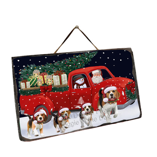 Christmas Express Delivery Red Truck Running Beagle Dogs Wall Décor Hanging Photo Slate SLTH58134