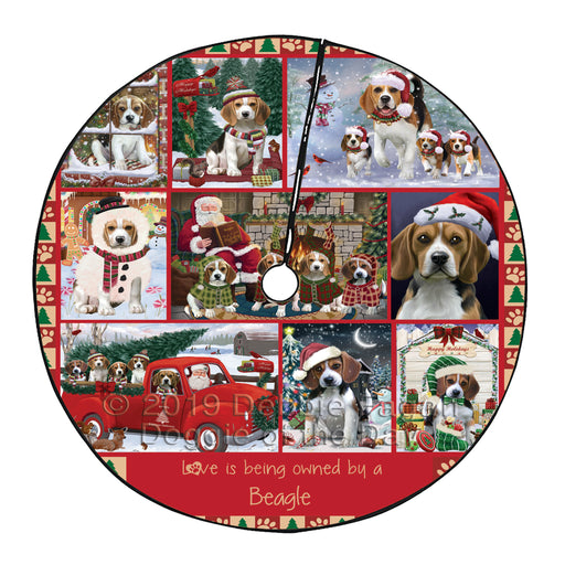 Love is Being Owned Christmas Beagle Dogs Tree Skirt