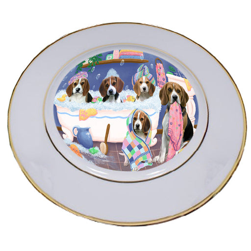 Rub A Dub Dogs In A Tub Beagles Dog Porcelain Plate PLT55109