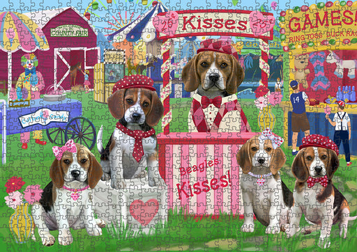 Carnival Kissing Booth Beagles Dog Puzzle with Photo Tin PUZL91324