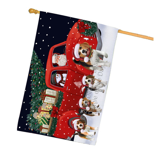 Christmas Express Delivery Red Truck Running Beagle Dogs House Flag FLG66495