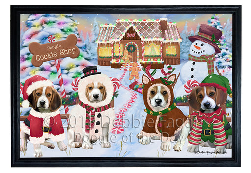 Holiday Gingerbread Cookie Shop Beagles Dog Framed Canvas Print Wall Art FCVS190783