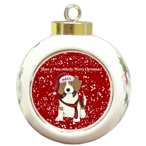 Custom Personalized Pawsitively Beagle Dog Merry Christmas Round Ball Ornament
