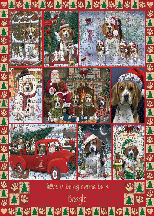 Love is Being Owned Christmas Beagle Dogs Puzzle with Photo Tin PUZL99260