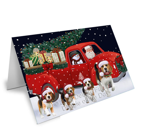 Christmas Express Delivery Red Truck Running Beagle Dogs Greeting Card GCD75059