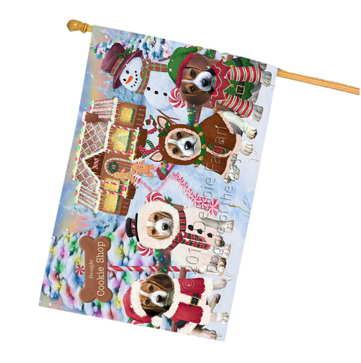 Holiday Gingerbread Cookie Shop Beagles Dog House Flag FLG56786