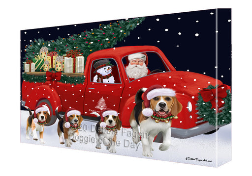 Christmas Express Delivery Red Truck Running Beagle Dogs Canvas Print Wall Art Décor CVS145853