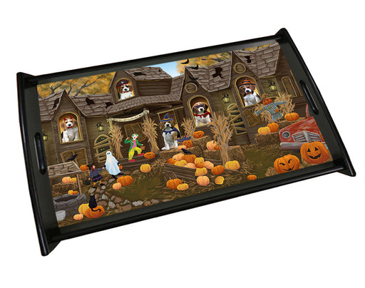 Haunted House Halloween Trick or Treat Beagles Dog Wood Serving Tray TRP49080