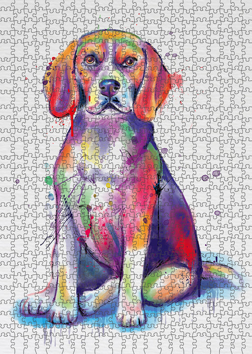 Watercolor Beagle Dog Puzzle with Photo Tin PUZL97096