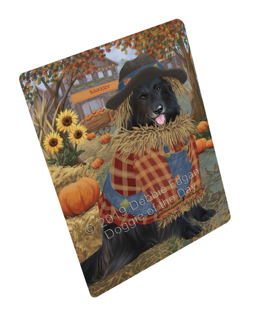 "Halloween 'Round Town And Fall Pumpkin Scarecrow Both Belgian Shepherd Dogs Magnet MAG77221 (Mini 3.5"" x 2"")"