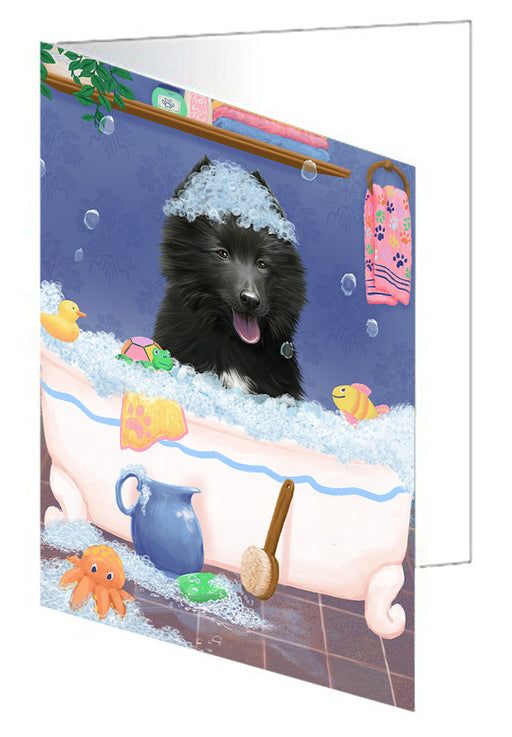 Rub A Dub Dog In A Tub Belgian Shepherd  Dog Note Card NCD79223