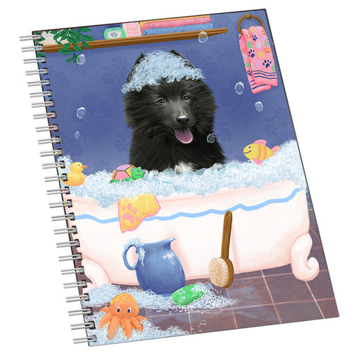 Rub A Dub Dog In A Tub Belgian Shepherd  Dog Notebook NTB55398