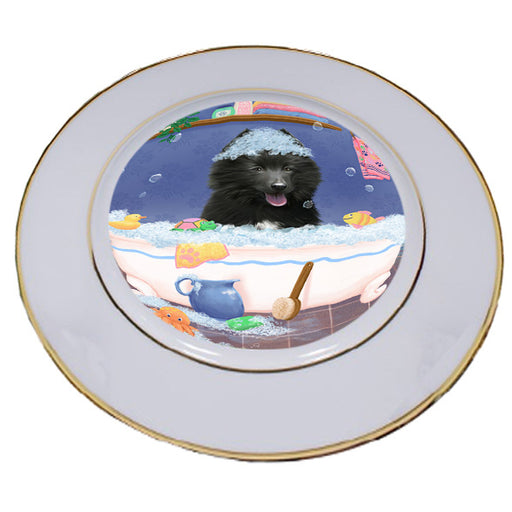 Rub A Dub Dog In A Tub Belgian Shepherd Dog Porcelain Plate PLT57351
