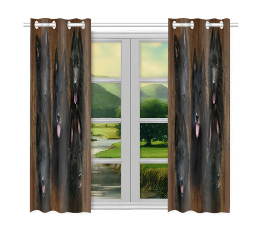 Rustic Belgian Shepherd Dogs Window Curtain