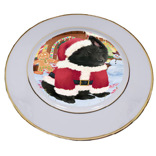 Christmas Gingerbread House Candyfest Belgian Shepherd Dog Porcelain Plate PLT54518