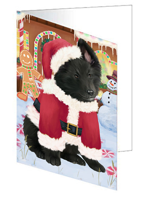 Christmas Gingerbread House Candyfest Belgian Shepherd Dog Note Card NCD73022