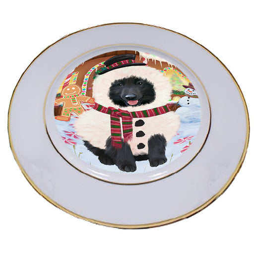 Christmas Gingerbread House Candyfest Belgian Shepherd Dog Porcelain Plate PLT54519