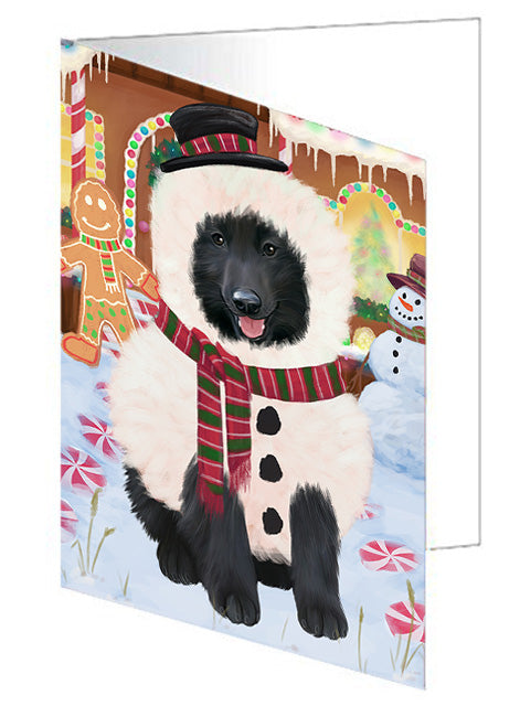 Christmas Gingerbread House Candyfest Belgian Shepherd Dog Note Card NCD73025