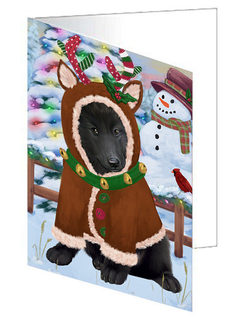 Christmas Gingerbread House Candyfest Belgian Shepherd Dog Note Card NCD73028