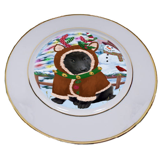 Christmas Gingerbread House Candyfest Belgian Shepherd Dog Porcelain Plate PLT54520