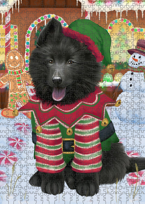 Christmas Gingerbread House Candyfest Belgian Shepherd Dog Puzzle with Photo Tin PUZL92888