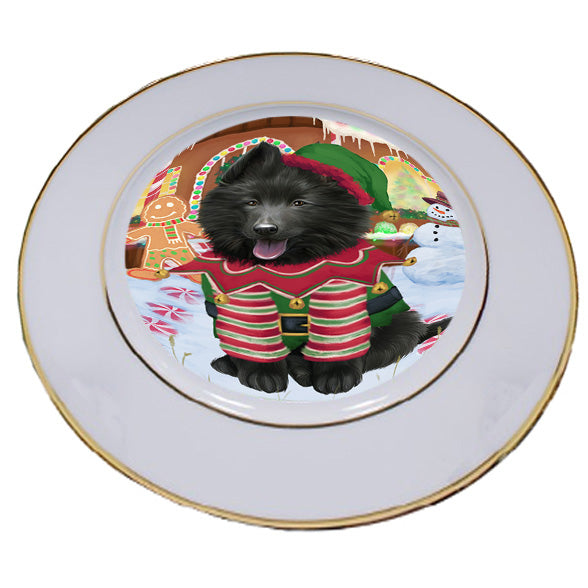 Christmas Gingerbread House Candyfest Belgian Shepherd Dog Porcelain Plate PLT54521