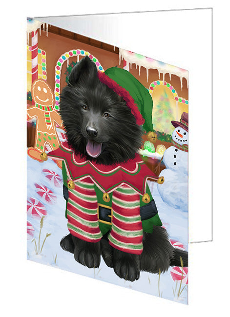 Christmas Gingerbread House Candyfest Belgian Shepherd Dog Note Card NCD73031