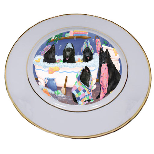 Rub A Dub Dogs In A Tub Belgian Shepherds Dog Porcelain Plate PLT55110