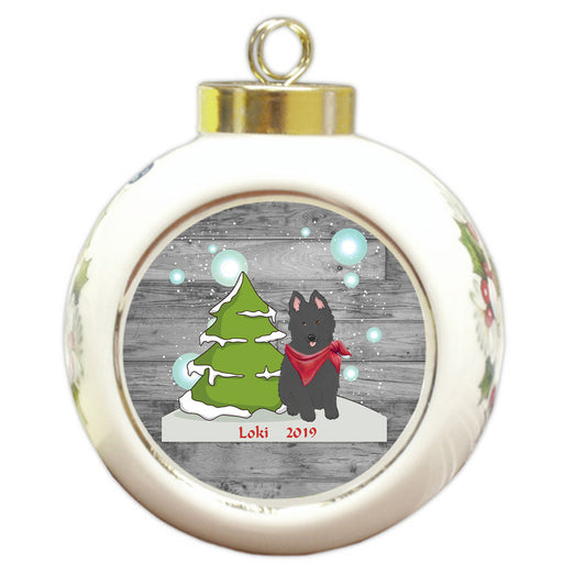 Custom Personalized Winter Scenic Tree and Presents Belgian Shepherd Dog Christmas Round Ball Ornament