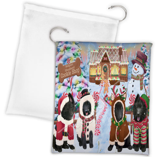 Holiday Gingerbread Cookie Belgian Shepherd Dogs Shop Drawstring Laundry or Gift Bag LGB48568
