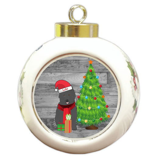 Custom Personalized Belgian Shepherd Dog With Tree and Presents Christmas Round Ball Ornament