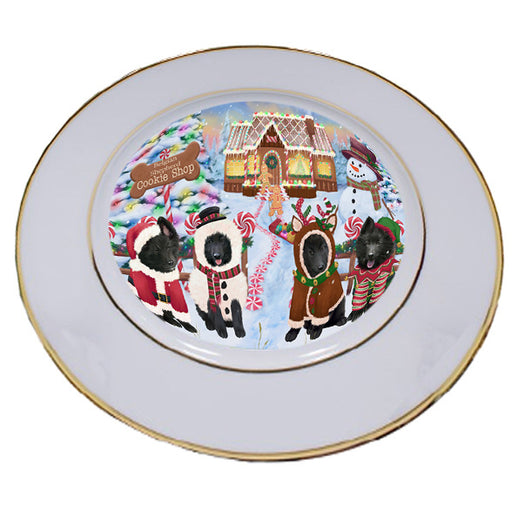 Holiday Gingerbread Cookie Shop Belgian Shepherds Dog Porcelain Plate PLT54452