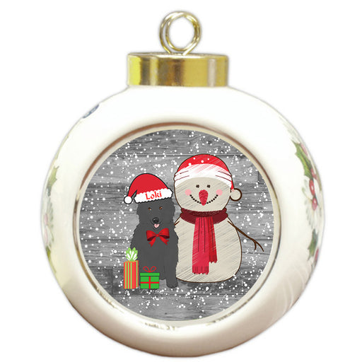 Custom Personalized Snowy Snowman and Belgian Shepherd Dog Christmas Round Ball Ornament