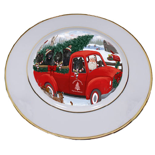 Christmas Santa Express Delivery Belgian Shepherds Dog Family Porcelain Plate PLT56931