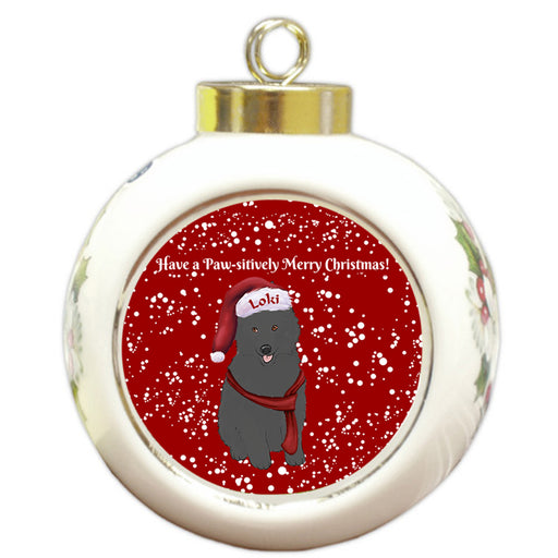 Custom Personalized Pawsitively Belgian Shepherd Dog Merry Christmas Round Ball Ornament