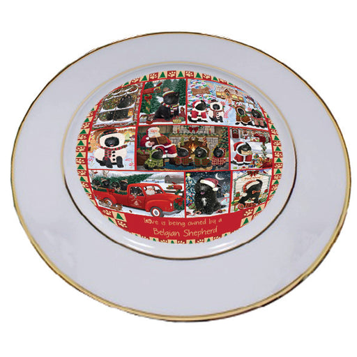 Love is Being Owned Christmas Belgian Shepherd Dogs Porcelain Plate PLT57245