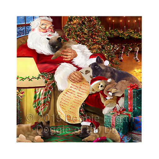 Santa Sleeping with Belgian Tervuren Dogs Square Towel