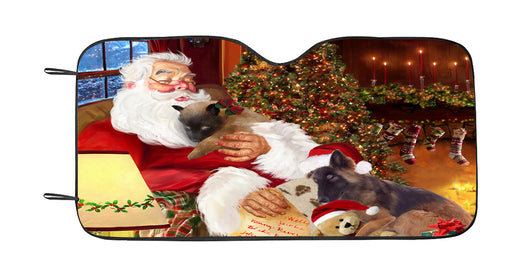 Santa Sleeping with Belgian Tervuren Dogs Car Sun Shade