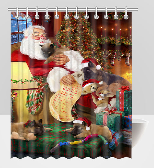 Santa Sleeping with Belgian Tervuren Dogs Shower Curtain
