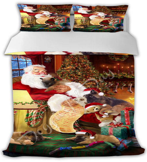 Santa Sleeping with Belgian Tervuren Dogs Bed Comforter CMFTR49400