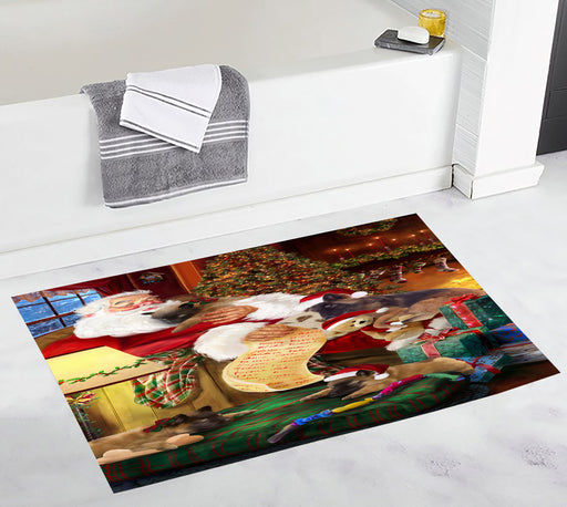 Santa Sleeping with Belgian Tervuren Dogs Bath Mat